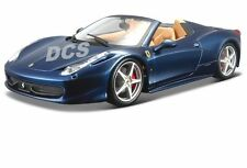 BBURAGO FERRARI 458 SPIDER 1/24 DIE CAST CAR BLUE 18-26017BL