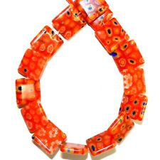 "G4039 Orange w Multiple Color Flowers 14mm Flat Square Millefiori Glass Bead 14"""