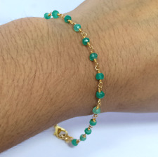 """3-4 MM Coated Green Onyx Gold Plated Rosary Chain Gemstone Bracelet 7"""""""