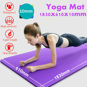 Yoga Mat Large Thick Non Slip With Carrier Strap Exercise Pilates Gym 10mm Mats