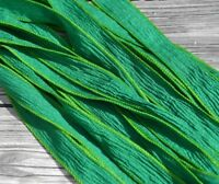 EMERALD Green Silk Ribbons Qty 5 Hand Dyed Jewelry Making Supplies JamnGlass