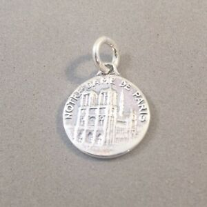 .925 Sterling Silver NOTRE DAME Paris Small Medallion CHARM NEW 925 TF10
