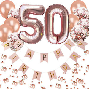 50. Geburtstag Deko Set - Folien Luftballons 50 Girlande Konfetti Ballons uvm.