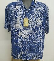 Roundtree Caribbean Midnight Blue Wave S/S Men's Shirt NWT $69.50 Choose Size