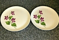 "French Saxon Lot/2 China Plates African Violets 9"" USA Made Vintage"