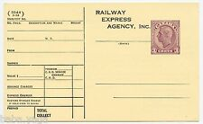 Railway Express Agency Customs  imprinted Canada stamp postcard