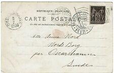 France 1900 Paris Exposition machine flag cancel on expo postcard to Sweden