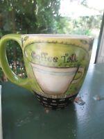 "Lisa Kaus Artwork Coffee Cup Mug  COFFEE TALK  Lang 2010  3.75"" Tall"