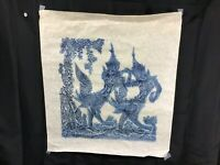 Vintage Angkor Wat Thai/Cambodian Temple Stone Rubbing Art on Rice Paper Flute