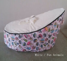 New White/Pink Baby infant Bean Bag Snuggle Bed seat 2 upper layers No Filling