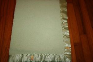 Just Born Green Precious Little One Sherpa/ Satin Baby Blanket