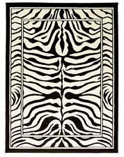 ZEBRA BLACK CREAM ANIMAL PRINT WILTON RUG 115X160CM