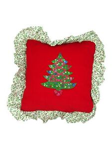 Sequin Christmas Tree Pillow Red Corduroy Holly Print Handmade 14 x 14 Square