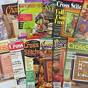 Lot of 12 cross stitch magazines each containing Halloween designs and more