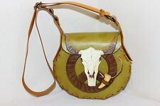 Hand Tooled & Hand Painted Leather Purse, Bull Skull, Chacho Leather, OOAK