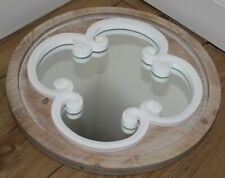 NATURAL WOOD MIRROR WITH WHITE WOOD INLAY, SHABBY CHIC