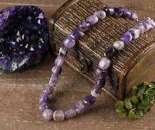 Purple AMETHYST QUARTZ Necklace - Tumbled Stones Beads, Crystal Jewelry E0381