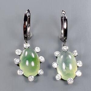 Handmade SET Prehnite Earrings Silver 925 Sterling   /E57425
