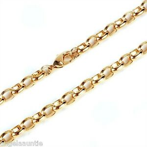 18K Yellow Gold Filled Oval Belcher Necklace (N-212)