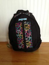 JANSPORT Sputnik BACKPACK black PINK YELLOW blue PEACE SIGNS aircore straps WT