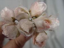 VELVET  MILLINERY FLOWERS -  PINK & CREAM ROSES