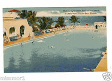 Vintage 1940s Postcard Municipal Outdoor Pool on the beach Hollywood Florida