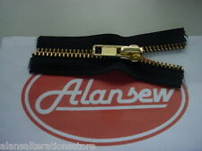 ONE METRE of No10 HEAVY DUTY BROWN BRASS HANDBAG ZIPPING with AUTOLOCK SLIDER