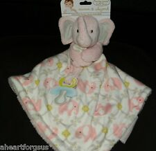 BLANKET BEYOND SECURITY ELEPHANT PINK FLORAL PACIFIER HOLDER TRIANGLE SHAPE NEW