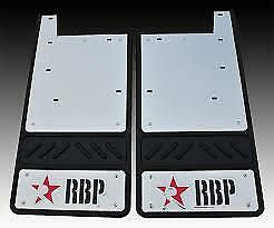 RBP 757105-SS Ford Dually SD Dually 11-C Rear Mud Flaps With Steel Background