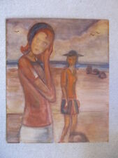 MYSTERY ARTIST WOMEN BY SEA OCEAN PORTRAIT auth.c 60's OIL PAINTING unsigned ART