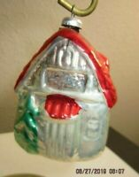Vintage Blown Mercury Glass Christmas Ornament Little House / Cottage