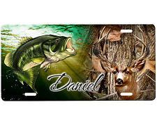 Deer and Bass Hunting license plate