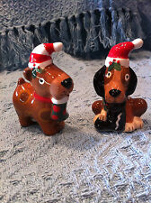 NOS CRACKER BARREL FULL OF MISCHIEF TWO DOGS SALT AND PEPPER SHAKER SET