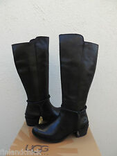 UGG TALL CIERRA BLACK LEATHER DECO ANKLE WRAP BOOTS, US 10/ EUR 41 ~NIB