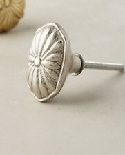 Anthropologie Knob Pull Drawer Cabinet Metal Silver Tone Imprinted Blossom New