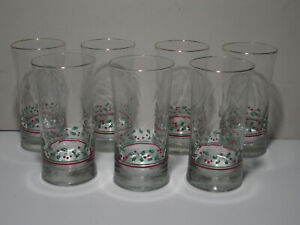 Vintage Arbys 1987 Christmas Collection 12 Oz Drinking Glasses, Set of Seven
