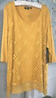 NEW Plus Size 1X 2X Yellow Gold Tunic Top Shirt Crochet Lace Blouse