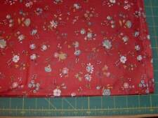 "40"" x 45"" - white pink and blue flowers on reddish brown cotton Concord fabrics"