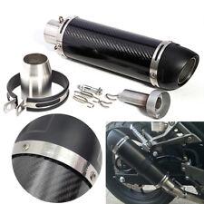 Carbon Fiber Motorrad Auspuff Rohr Auspufftöpfe Schwarz Universal 36-51mm E Mark