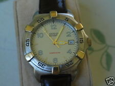 Nice GUESS Two Tone Men's Diver Watch w/Date & Rotating Bezel