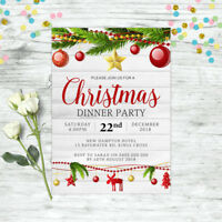CHRISTMAS INVITATION PERSONALISED PARTY SUPPLIES CUSTOM INVITE XMAS GOLD