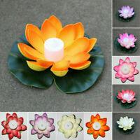 Solar Outdoor Floating Lotus Light Pool Garden Water Flower LED Lamp Lights