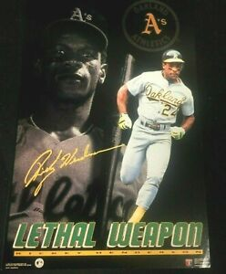 """1990S VINTAGE     4X6"""" MINI POSTER MLB RICKEY  HENDERSON  LETHAL WEAPON"""