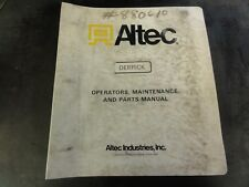 Altec Industries D890A Hydraulic Derrick Operators Maintenance and Parts Manual