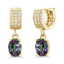 3.87 Ct Oval Green Mystic Topaz 18K Yellow Gold Plated Silver Earrings