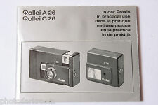Rollei A26 C26 Camera and Flash Manual Instruction Book - Multilingual USED B67