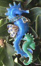 Blue Crystal Rhinestone Enamel Animal Seahorse Sea Horse Pin And Brooch Jewelry