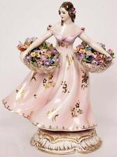 Vintage Guido CACCIAPUOTI Italian Ceramic FIGURINE Lady w Flower Baskets 1940s