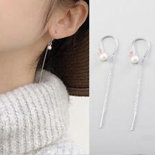 Damen Ohrhänger Perle echt Sterling Silber 925 lange Ohrringe Durchzieher