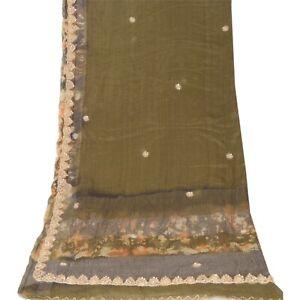 Sanskriti Vintage Dupatta Long Stole Pure Silk Green Hand Beaded Tie- Dye Veil